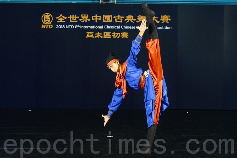 少年男子組入圍選手蔡承廷,演繹了四大名著《水滸傳》中《林沖夜奔》的故事。(宋碧龍/大紀元)