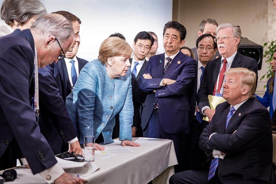 6月9日,德國總理默克爾的團隊在其社交媒體上上傳了一張剛剛在加拿大召開的G7峰會的照片。(德國總理默克爾Instagram官方帳號)