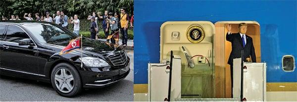 ( 左)昨日下午,相信是北韓領導人金正恩的坐駕,駛往新加坡下榻酒店。(Getty Images) (右)昨晚8點21分左右,美國總統特朗普到達新加坡巴耶利峇空軍基地。(Samira Bouaou/The Epoch Times)