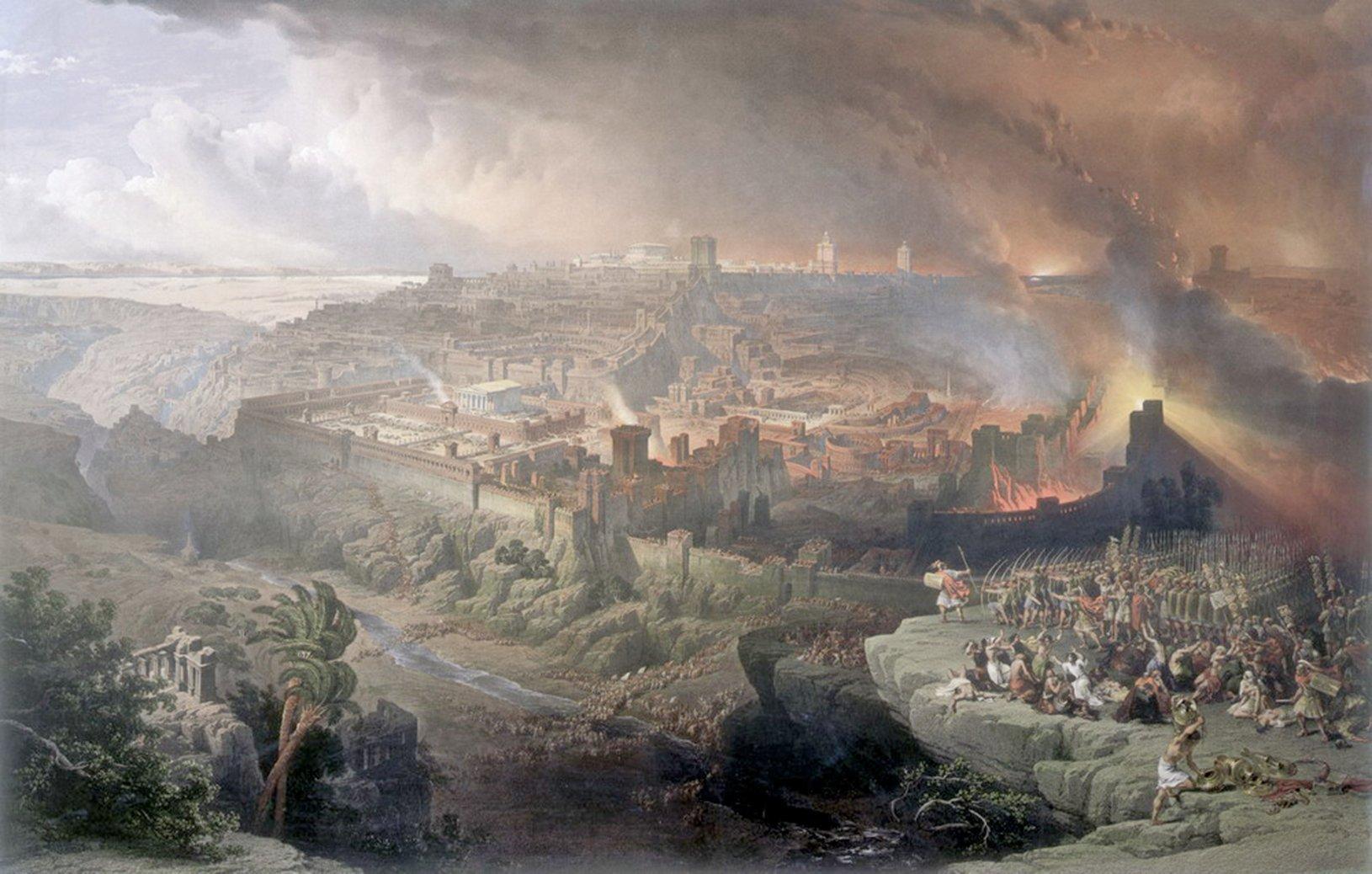猶太戰爭,羅馬圍城,耶路撒冷毀滅。(David Roberts,1850)。(公有領域)