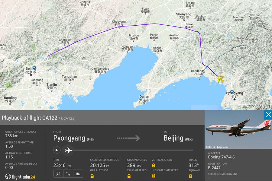 據全球航班追蹤網站Flightradar24的紀錄顯示,中國國際航空一架領導人專機(機身編號:B-2447),以國航CA122航班名義,於6月10日上午8時30分從平壤起飛,目的地為北京。(flightradar24.com)
