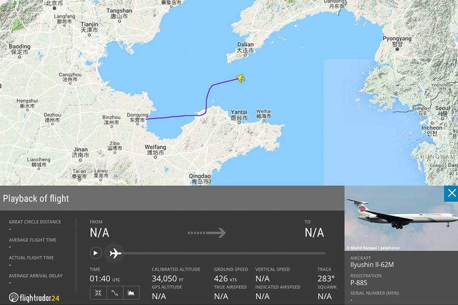 圖為北韓領導人金正恩的私人飛機「蒼鷹一號」在6月10日當天從平壤起飛,取道渤海上空進入山東半島上空的部份路線紀錄。(flightradar24.com)