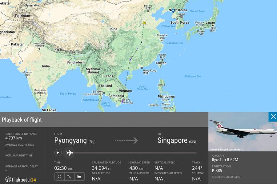 圖為北韓領導人金正恩的私人飛機「蒼鷹一號」在6月10日當天飛往新加坡的飛行紀錄。圖中實線的部份,為雷達可偵測到的路線;虛線的部份為估計的航線,未能被雷達偵測出來。(flightradar24.com)