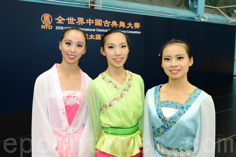 方品宜(左)、劉芯彤(中)、蕭鈺美。(宋碧龍/大紀元)