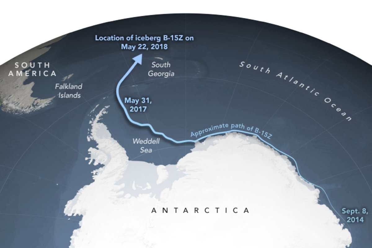 在過去的一兩年裏,冰山突然向北移動到南大西洋。(NASA/International Space Station)