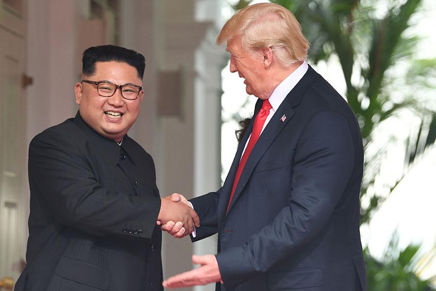 6月12日,全球矚目的美朝首腦會晤,吸引著人們的目光。(SAUL LOEB/AFP/Getty Images)