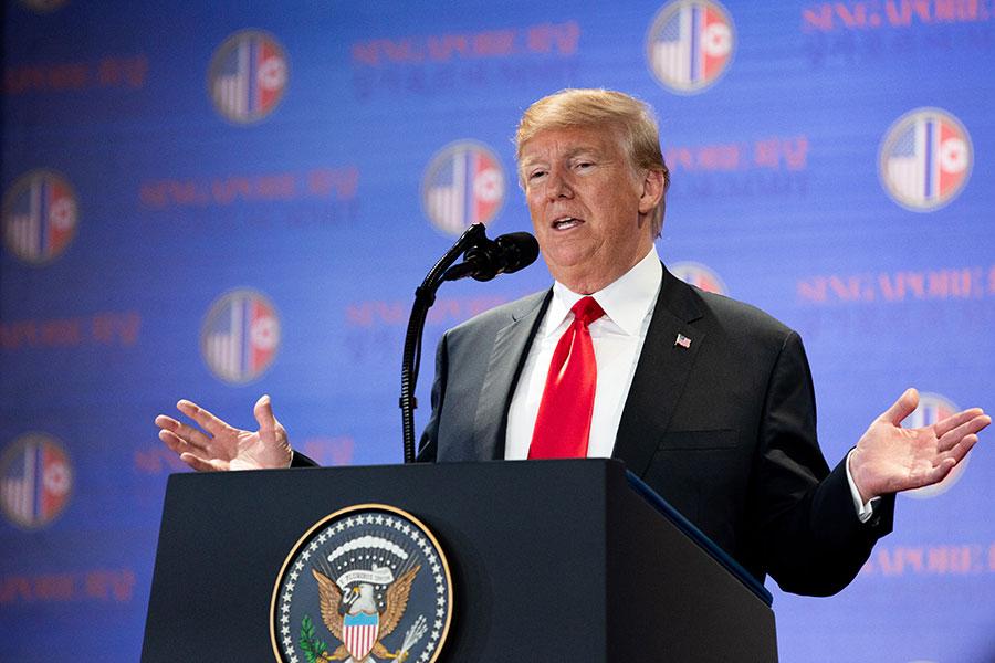 6月12日,美國總統特朗普和北韓領導人金正恩的首腦會談落幕後,特朗普表示,這項歷史性會談成果豐碩。(Charlotte Cuthbertson/大紀元)