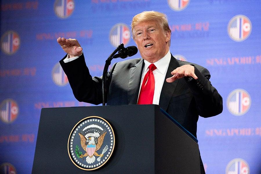 特朗普說,確保完全無核化的承諾是最重要的事情。(Charlotte Cuthbertson/大紀元)