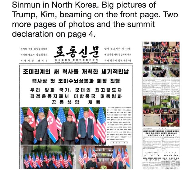 北韓官媒以罕見的迅速動作,高調報道美國總統特朗普和金正恩會晤的結果。(推特擷圖)