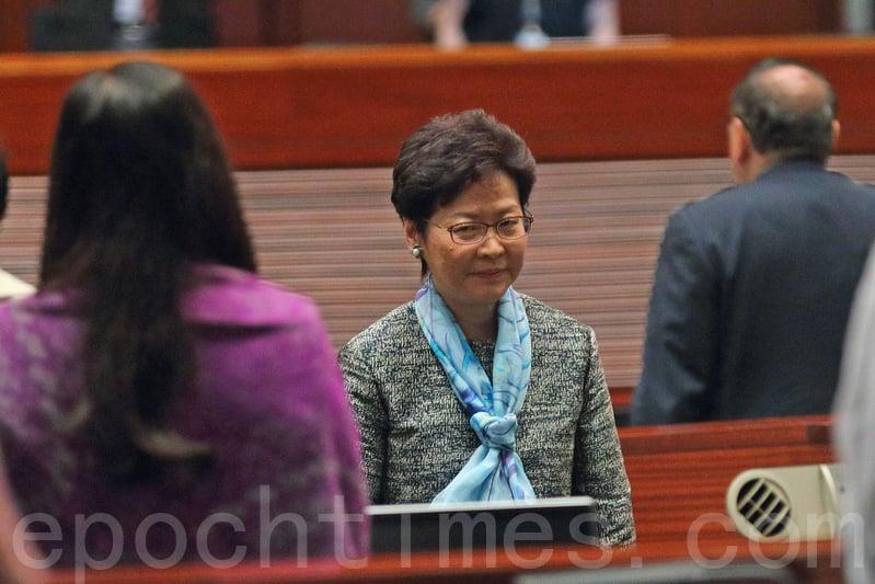 特首林鄭月娥昨日出席立法會大會接受議員質詢。(李逸/大紀元)