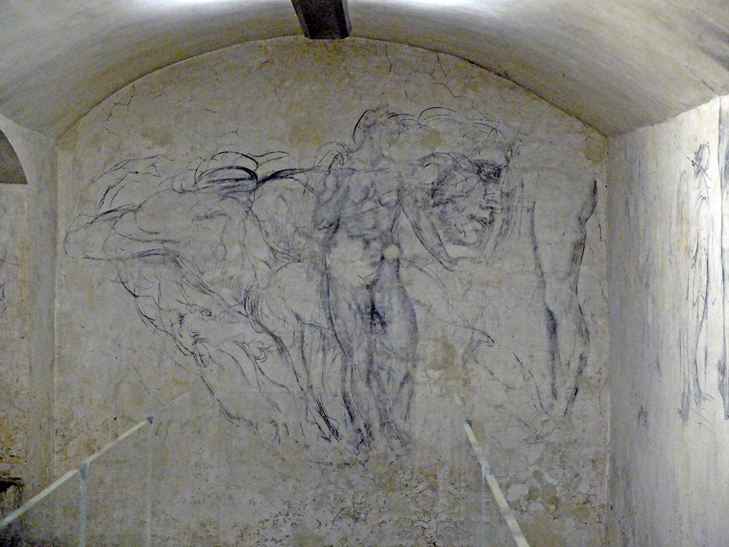 佛羅倫斯聖羅倫佐教堂發現了一間密室,密室的牆壁上佈滿繪畫,據信是文藝復興時期藝術大師米開朗基羅的真跡。(CLAUDIO GIOVANNINI/AFP/Getty Images)