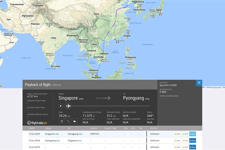 北韓領導人私人飛機「蒼鷹一號」的飛行路線紀錄不完整,只顯示該客機曾於6月13日從新加坡出發,飛越越南、中國大陸領空,並從山東半島出海,飛向北韓領空。(網頁擷圖)
