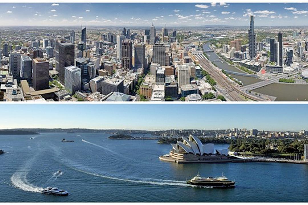 墨爾本和悉尼兩大城市。(大紀元合成圖)
