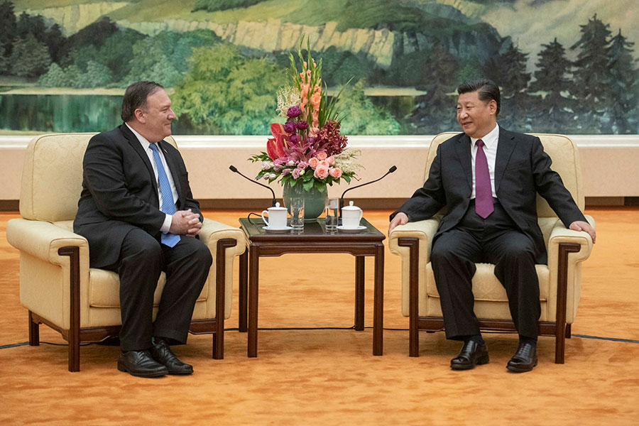 圖為美國國務卿蓬佩奧6月14日訪華,與中國國家主席習近平會晤。(Fred Dufour-Pool/Getty Images)