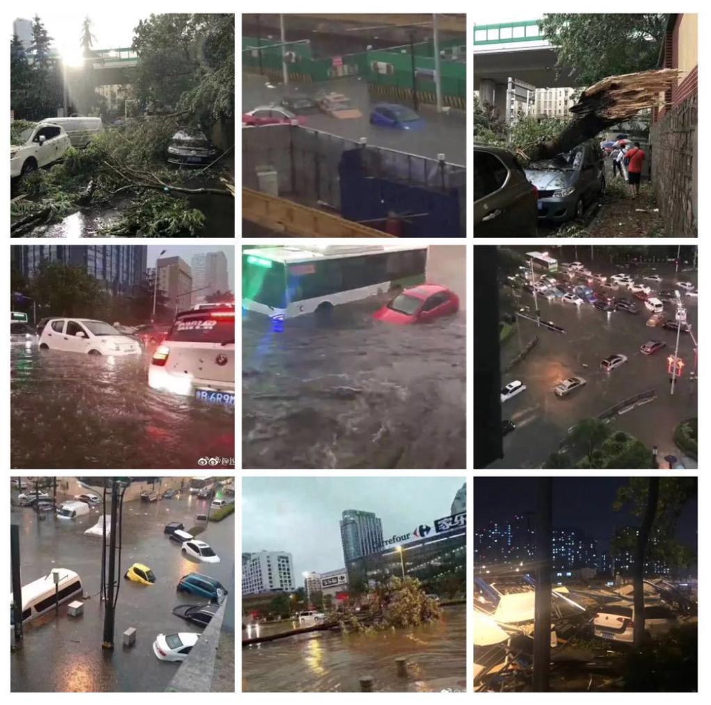 上合峰會過後,青島遭遇極端天氣,街道被淹。(網絡圖合成)