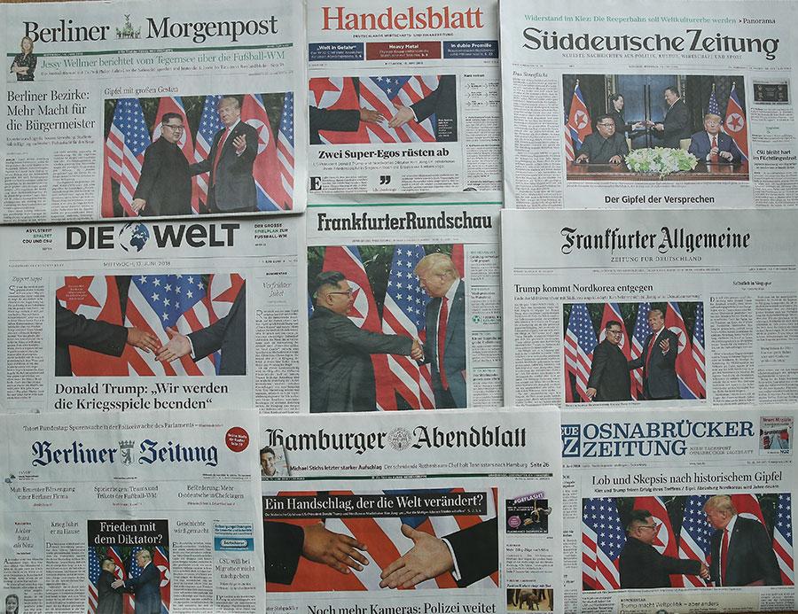 特金會在全球成為各大媒體的頭條,圖為德國報紙6月13日的頭條報道。(Sean Gallup/Getty Images)