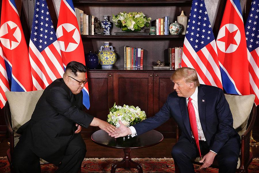 特金會後,有美媒認為特朗普輸了、金正恩贏了。政論家夏業良接受大紀元專訪,解讀特金會,得出完全不同的結論。(Kevin Lim/The Strait Times/Handout/Getty Images)
