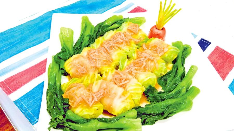 【梁廚美食】瑤柱扒白菜肉卷