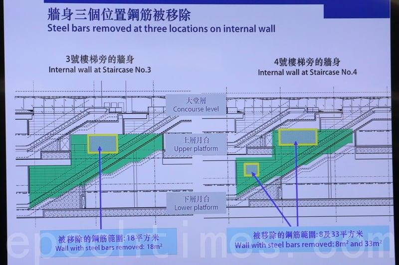 土瓜灣站3幅牆上3個面積共60平方米位置的鋼筋被移除。(蔡雯文/大紀元)