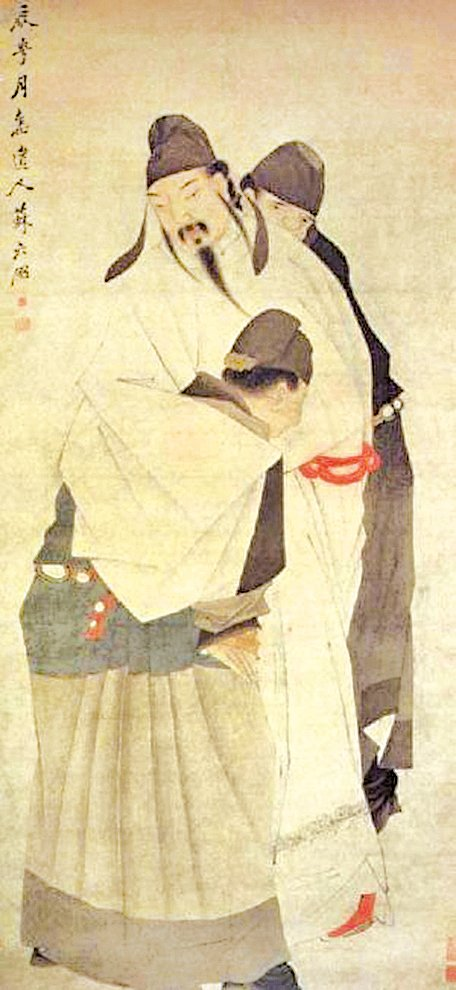 清‧蘇六明畫的「李白醉灑圖」(公有領域)