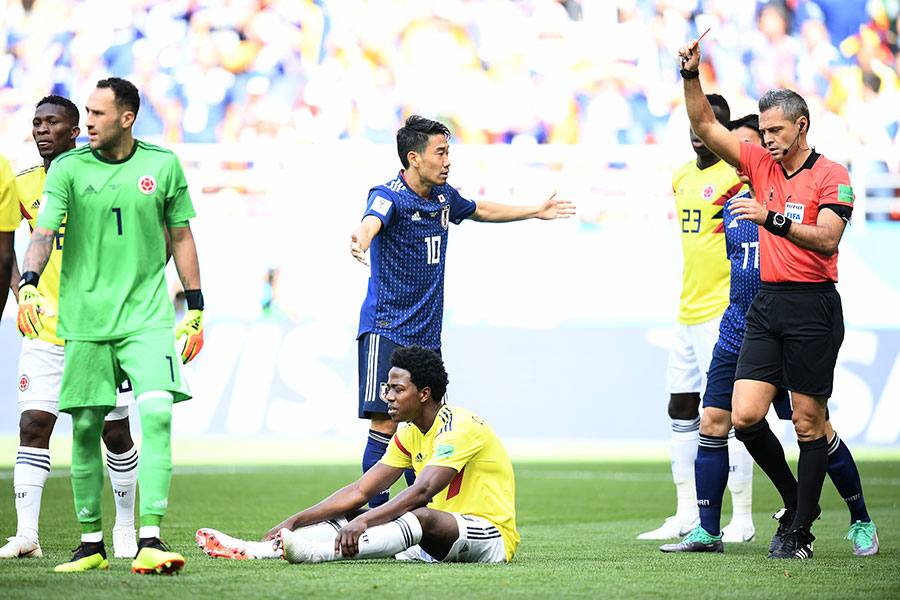 山齊士摩蘭奴吃到本屆杯賽的第一張、也是世界杯歷史上第二快的紅牌。(Carl Court/Getty Images)