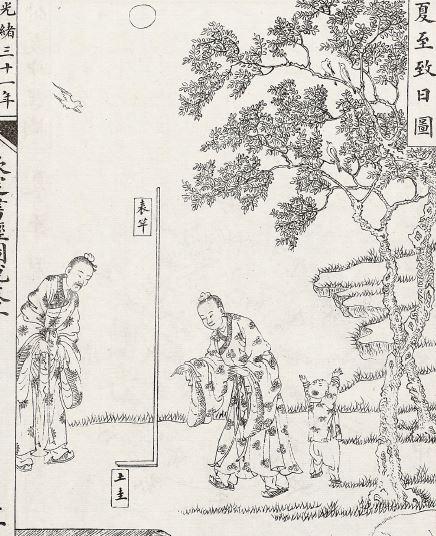 公元前七世紀,先人採用土圭測日影。圖為清 孫家鼐《欽定書經圖說》插圖。(公有領域)