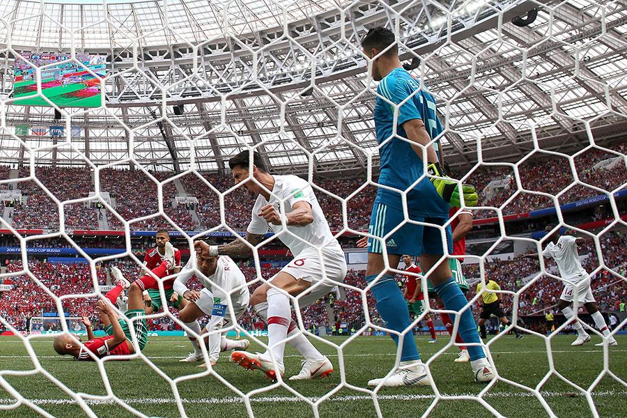 葡萄牙依靠角球機會,隊長C朗拿度門前頂頭鎚破門,幫助葡萄牙先拔頭籌。(Michael Steele/Getty Images)