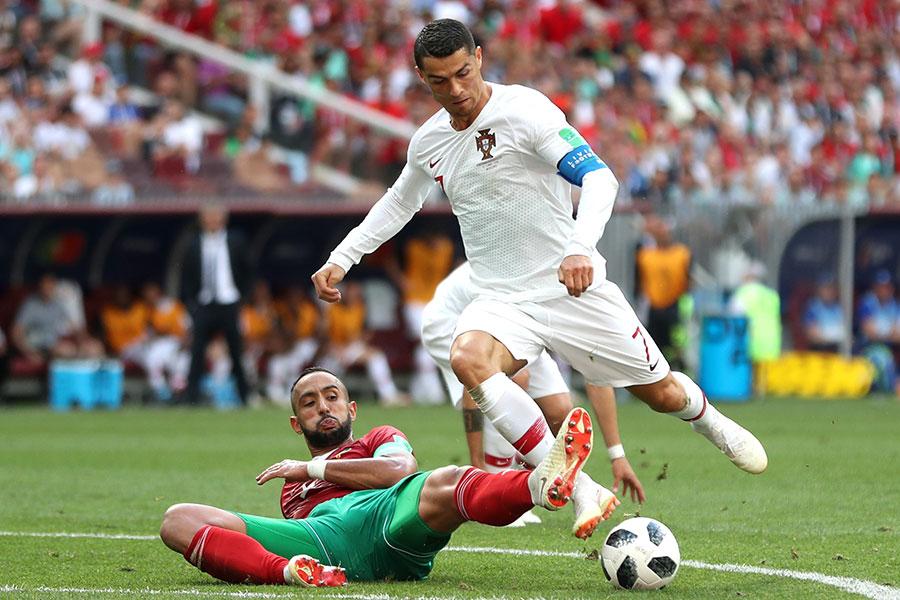 換邊再戰,不甘示弱的摩洛哥開始猛攻,雙方爭奪激烈。(Michael Steele/Getty Images)