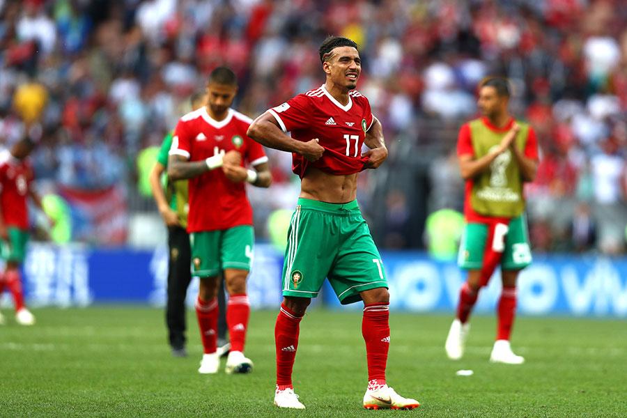 摩洛哥兩連敗後,成為本屆杯賽第一支被淘汰的隊伍。(Dean Mouhtaropoulos/Getty Images)
