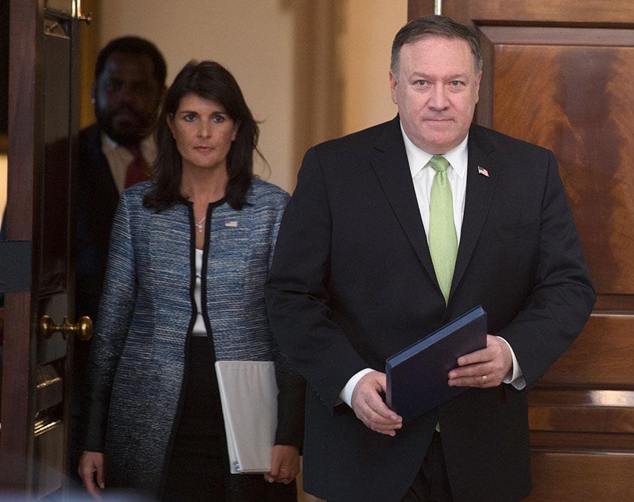 美國周二(6月19日)宣佈退出聯合國人權理事會。美國駐聯合國大使黑利和美國國務卿蓬佩奧在一個聯合記者會上宣佈了這個決定。(AFP PHOTO / Andrew CABALLERO-REYNOLDS)
