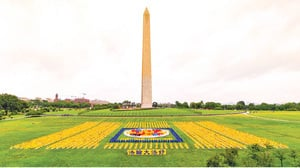 華盛頓紀念碑前 法輪功學員壯觀排字