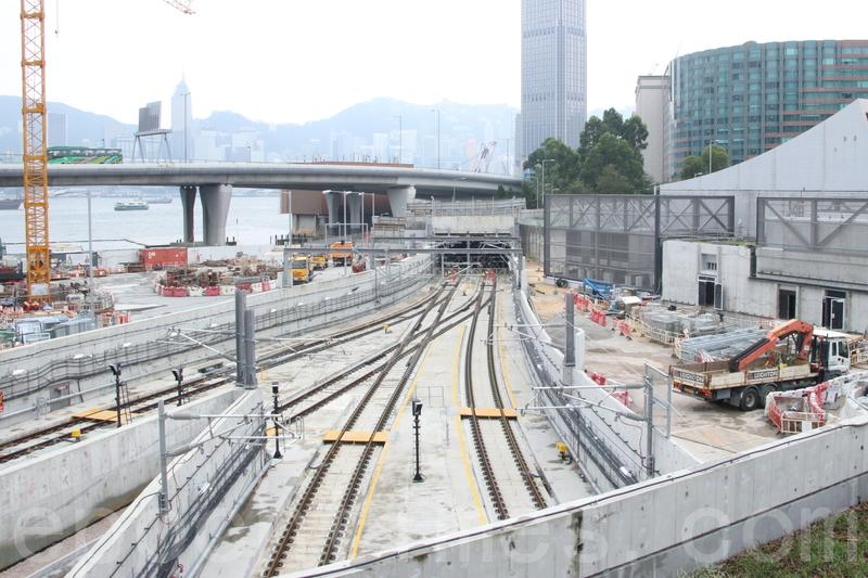 田北辰昨日引述消息指,紅磡站擴建工程月台多達5,000支鋼筋被剪短。圖為紅磡站地盤。(大紀元資料圖片)