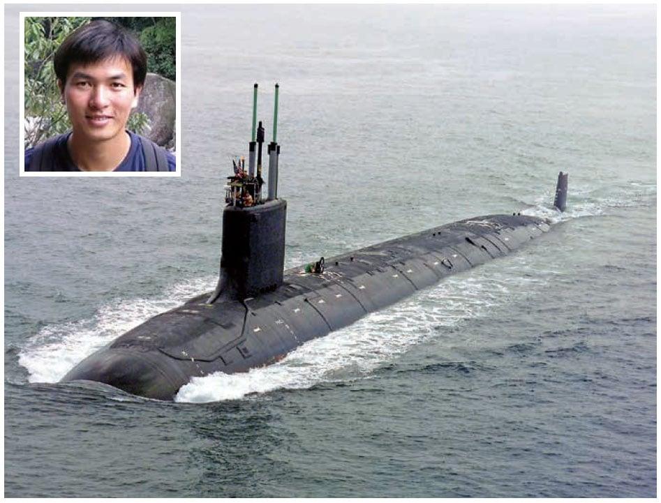 居住在麻州的中國公民Shuren Qin(小圖)被美方拘捕,涉嫌與一個中共軍事研究所合謀,非法將美國的反潛戰用裝置出口到中國。大圖為美國Virginia SSN 774潛艇。(公有領域/LinkedIn)