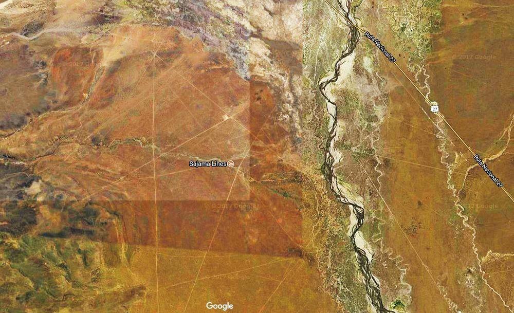 位於玻利維亞的薩哈馬線是神秘的古代遺蹟,但成因不詳。(谷歌地圖)