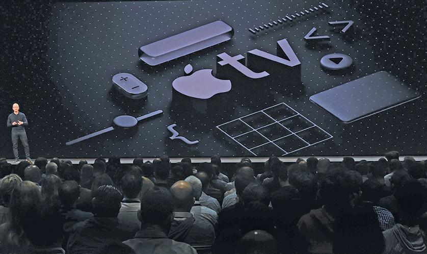 ▲今年6月4日的開發者大會上蘋果公司發布了新的tvOS。(JOSH EDELSON/AFP/Getty Images)