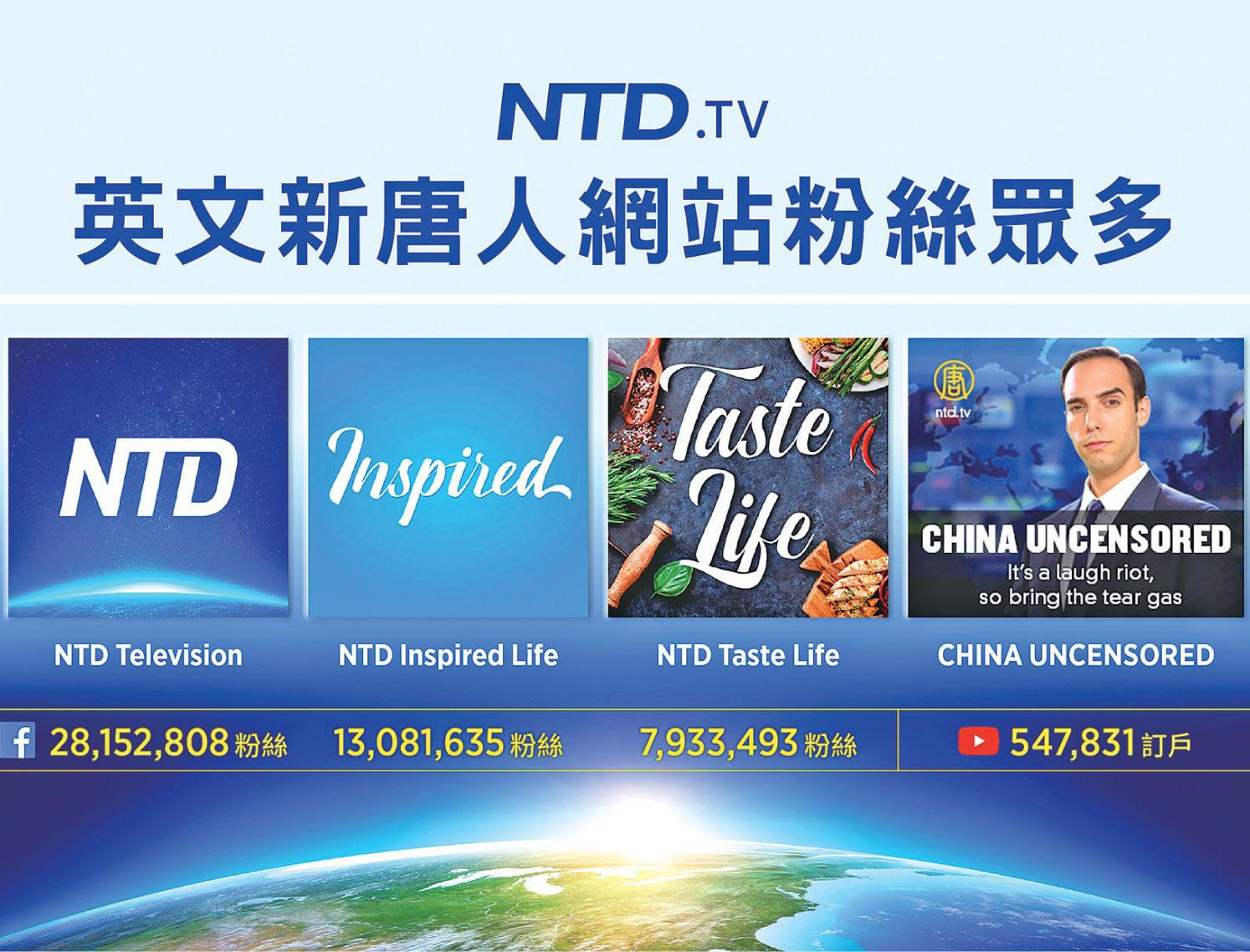 2017年,新唐人電視台開通英文數碼平台——網站、臉書以及YouTube頻道,不到一年多時間躋身全球主流媒體網站。(大紀元製圖)