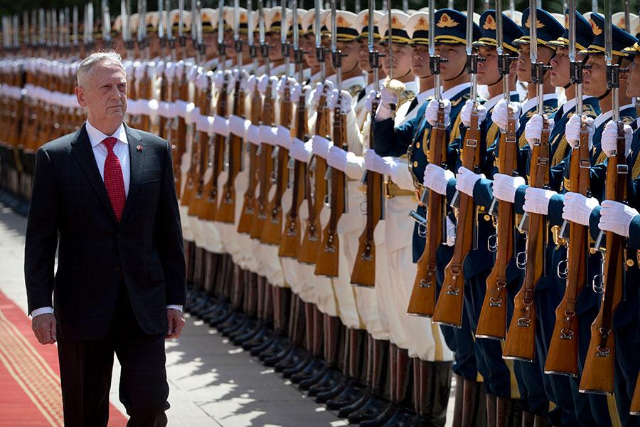 美國國防部長馬蒂斯6月26日到了北京,開始了他的亞洲之行。(MARK SCHIEFELBEIN/AFP/Getty Images)