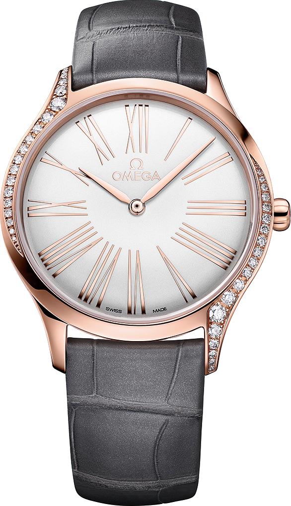 OMEGA碟飛系列TRÉSOR腕錶36毫米,白色錶盤,金鑲鑽錶款。 (OMEGA)