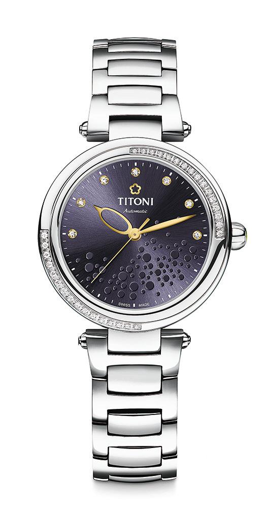 TITONI MISS LOVELY炫美自動腕錶——紫色錶盤款。(TITONI)