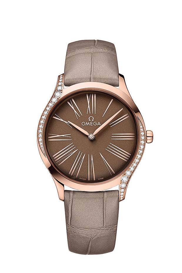 OMEGA碟飛系列TRÉSOR腕錶36毫米,啡色錶盤,金鑲鑽錶款。 (OMEGA)