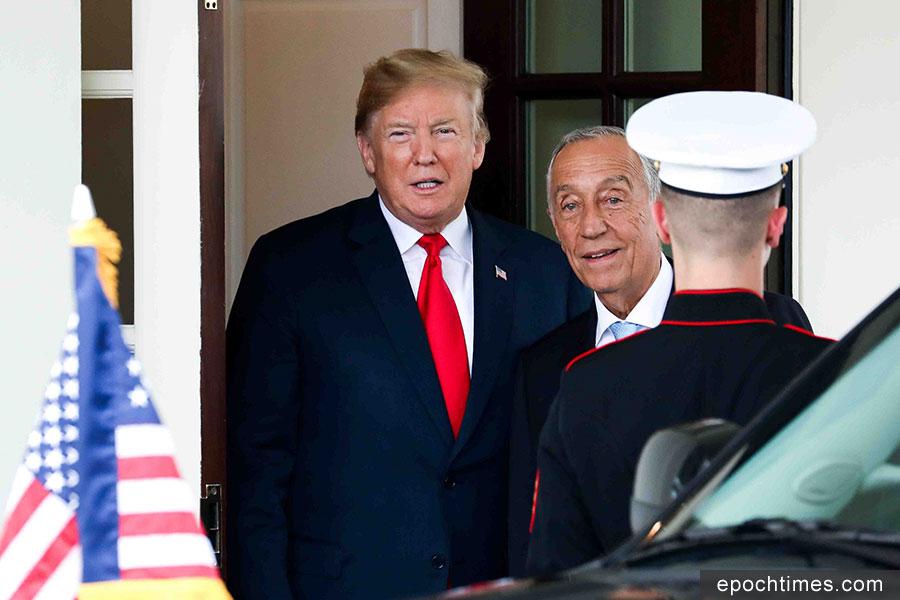 2018年6月27日下午,美國總統特朗普在白宮迎接到訪的葡萄牙總統馬塞洛・雷貝洛・德索薩(Marcelo Rebelo de Sousa)。(Samira Bouaou/大紀元)