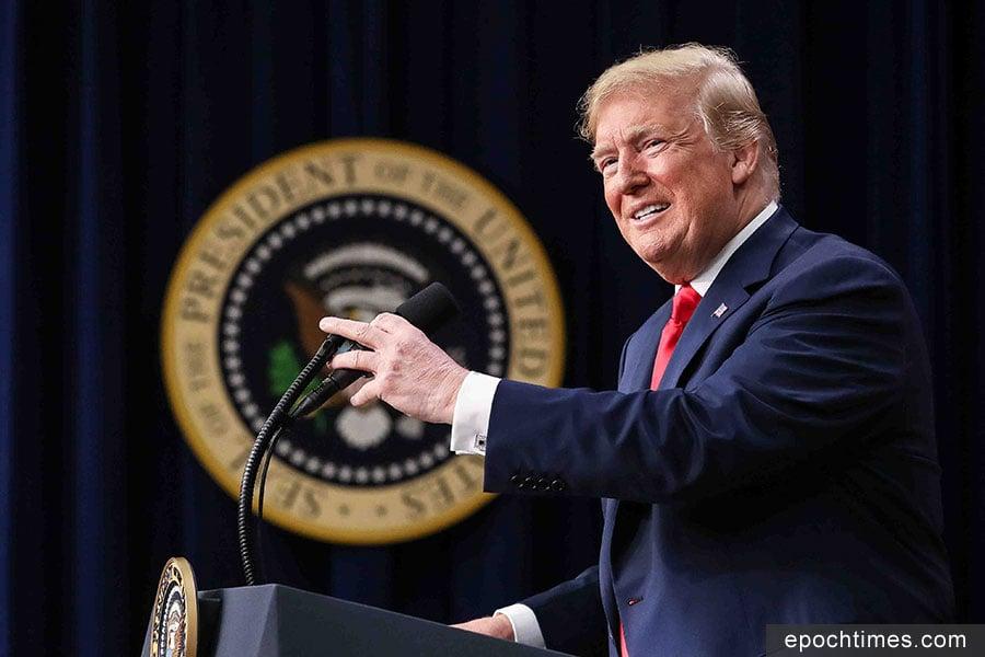 2018年6月27日,美國總統特朗普在白宮向來自全美各地高校的學生領袖發表演講,分享了美國政府是努力如何解決年輕人面臨的問題。(Samira Bouaou/大紀元)