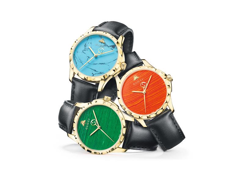 Le Marché des Merveilles 石英錶系列。可自訂錶盤顏色,錶帶有小牛皮和鱷魚皮兩種。(Gucci)