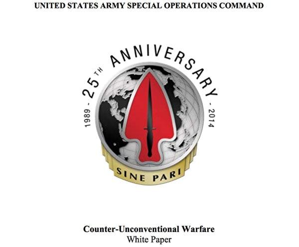 美國陸軍特種作戰司令部在2014年9月26日發表的一份題為《應對非常規戰》的白皮書。(白皮書擷圖)