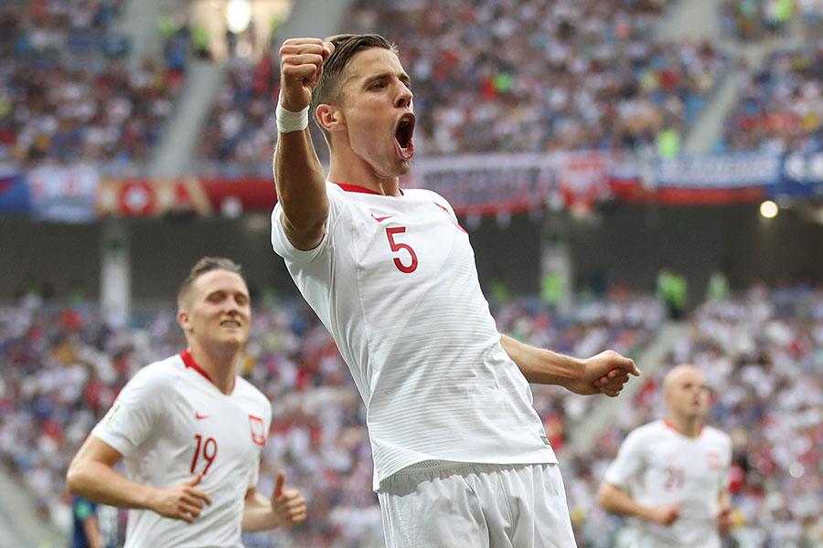 碧拿歷克(BEDNAREK)攻入唯一進球,也延續了波蘭隊的世界盃之旅成績小組賽最後一場總能獲勝的傳統。此前兩屆世界盃均是兩連敗後取得最後一場勝利。(Julian Finney/Getty Images)