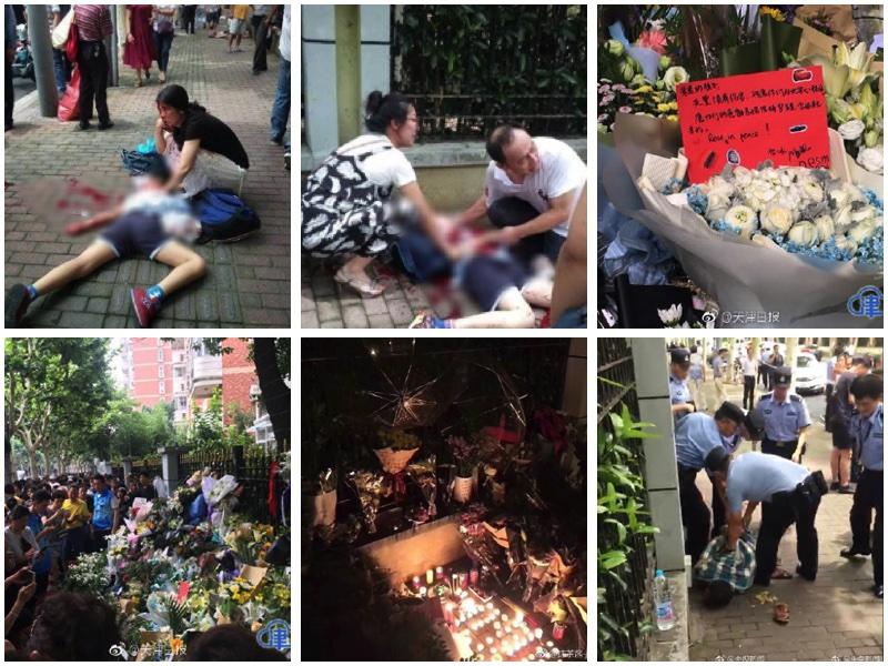6月28日,上海徐匯區世界外國語小學浦北路校區附近發生砍人案,導致2死2傷。(大紀元合成圖)