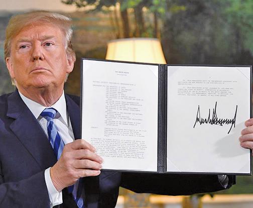 特朗普總統5月8日簽署了一份行政備忘錄,啟動了美國撤出伊朗核協議的進程。伊朗對華原油出口也將受限。(AFP)