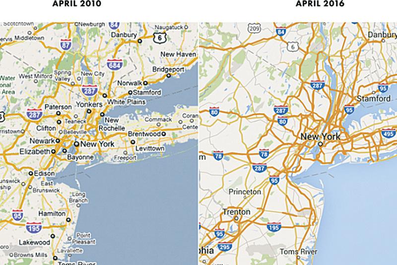 2010年4月(左)與2016年4月谷歌美東區域地圖對比。(Google/Justin O'Beirne)