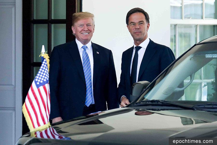 美國總統特朗普2018年7月2日下午在白宮迎接到訪的荷蘭首相馬克・魯特(Mark Rutte)。(Samira Bouaou/大紀元)