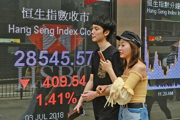 港股一如市場所料開盤就急瀉,一度跌穿28000點關口,最高跌964點至27990點,創去年10月3日以來新低。收報28545點,跌409點。(余鋼/大紀元)